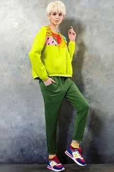 Colored Fruit Print Cotton T-shirt