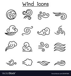 Wind icon set in thin line style Royalty Free Vector Image , Doodle Drawings, Easy Drawings, Doodle Art, Icon Design, Logo Design, Web Design, Design Layouts, Flat Design, Free Vector Images