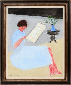 Lot: MILTON AVERY OIL ON CANVAS BOARD 1962, Lot Number: 012049, Starting Bid: $55,000, Auctioneer: DuMouchelles, Auction: Fine Paintings, Antiques & Jewelry, Date: January 17th, 2016 EST