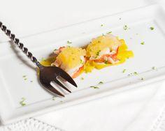 Homard ou crevettes au gel de clémentines épicée et aux poireaux (apéro)