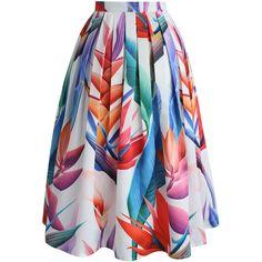 Chicwish Florid Strelitzia Printed Midi Skirt (€34) ❤ liked on Polyvore featuring skirts, chicwish skirt, going out skirts, party skirts, midi skirt and mid calf skirts
