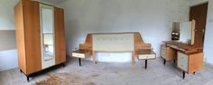 Vintage 1950s G-Plan Chinese White Bedroom Suite, Dressing table, Wardrobe,...