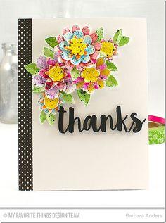 Sensational Stitched Flowers Card Kit - Barbara Anders  #mftstamps