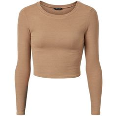 Camel Ribbed Long Sleeve Crop Top (24 RON) ❤ liked on Polyvore featuring tops, shirts, crop tops, crop, camel, slim fit shirts, longsleeve shirts, shirt crop top, crop top and camel shirt