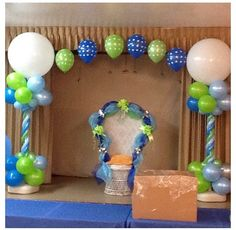 Balloon column, balloon arch, green blue decor, event wedding birthday kids