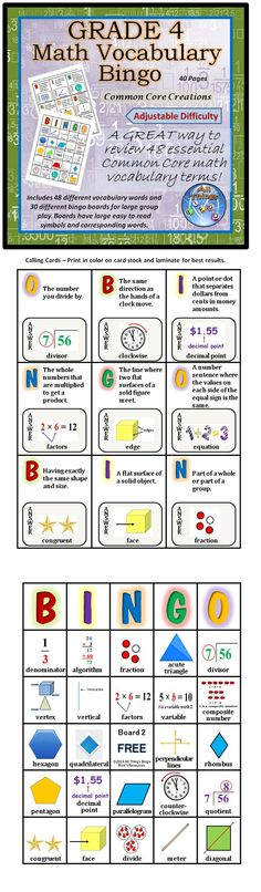 This is a great way to teach or review 48 essential Common Core math vocabulary terms for grade 4. This set includes 30 different bingo boards for large group play. Boards have easy to read symbols and corresponding words. This is a high quality set that should last for years. See the preview for more detailed information.  This set has adjustable difficulty.$