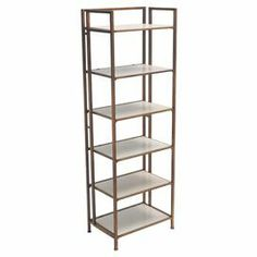 "Featuring 6 white shelves and an iron frame, this chic etagere is perfect for displaying treasured novels and family photographs.    Product: EtagereConstruction Material: MDF and ironColor: WhiteFeatures: Six shelvesDimensions: 72"" H x 23.75"" W x 16"" D"