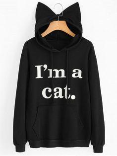 Women Sweatshirt Cat Slogan Print Cat Ear Kawaii Hoodie Sweatshirt 2017 New Black Print Cute Pullovers Long Sleeve Casual Hoodie Sweatshirts, Crazy Cat Lady, Sweat Shirt, Pull Chat, Karneval Diy, Kawaii Hoodie, Black Hoodie, Halloween Tops, Halloween Outfits