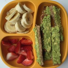 Toddler meals 18718154687416432 - The cupboards are bare this morning so we scraped together some avocado toast with bananas and strawberry for breakfast. Toddler Menu, Toddler Lunches, Healthy Toddler Meals, Toddler Food, Daycare Meals, Kids Meals, B Food, Love Food, Meal Plan For Toddlers