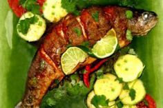 Grilled Whole Fish with Coriander-Chili Sauce