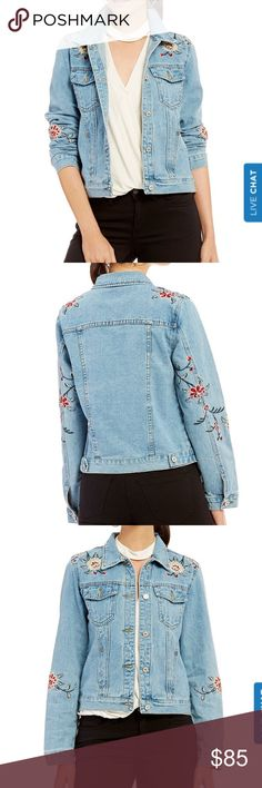 Gianni Bini Embroidered Denim Jacket Brand new with tags Gianni Bini denim jacket. Selling my size M because I ordered in both small and medium and the small fit me best (non-refundable). I absolutely LOVE this jacket. It's both classic and trendy. Gianni Bini Jackets & Coats Jean Jackets