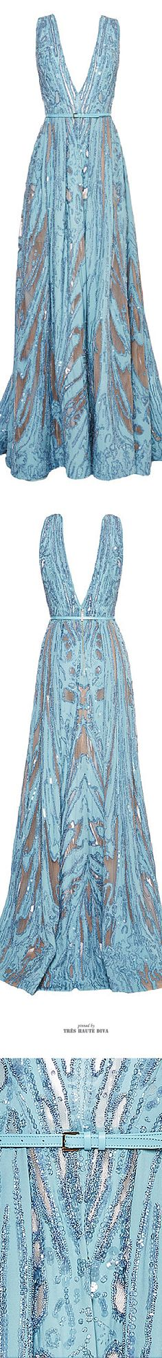 Ellie Saab Embroidered Light Blue Double Silk Georgette Gown ♔ SS 2015