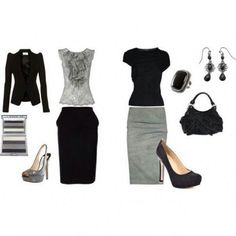 Greyscale Olivia Pope inspired Wardrobe Fashions - I found beautiful sophisticated yet affordable jewelry to accessorize these outfits at  https://jewelryfanatic.kitsylane.com/