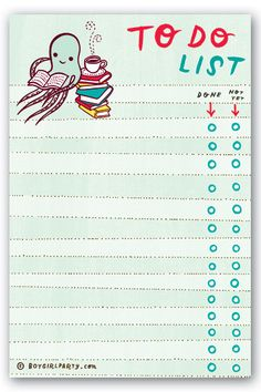Get yourself organized with this cheerful to do list notepad. The sooner you check off your list, the sooner you get to the good things like coffee and reading. Source: http://shop.boygirlparty.com/collections/_new/products/reading-octopus-to-do-list-notepad?utm_content=buffer02dd8&utm_medium=social&utm_source=pinterest.com&utm_campaign=buffer #todolist #to #do #list