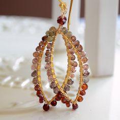 Tundra Sapphire Earrings Genuine Gemstones Wire by livjewellery