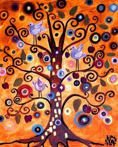 Natasha Wescoat, she seems to combine Hunterdwasser and Klimt in this piece.  I love it.                                                                                                                                                                                 Plus