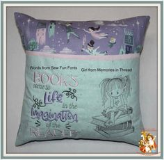 Pillow Embroidery, Applique Pillows, Monogram Pillows, Embroidery Monogram, Embroidery Fonts, Book Pillow, Reading Pillow, Pillow Talk, Sewing Crafts