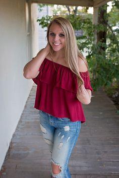 """Shayla"" Deep Red Off Shoulder Peasant Top(T2741C-1)"