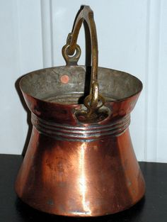 Vintage Copper Bucket with Hand Forged Handle