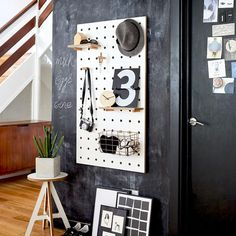 Pegboards that are made from Birch Plywood and feature sturdy holes and pegs along with a range of accessories. Suitable for the kitchen, study or hallway Fold Down Beds, Decorating Small Spaces, Decorating Ideas, Large Shelves, Birch Ply, Study Space, Hanging Storage, Under Stairs, White Decor
