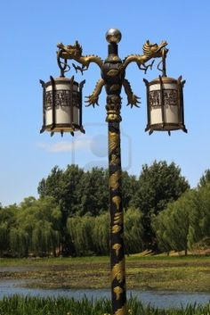 Ornate Golden Dragon Lamp Post,  Beijing, China