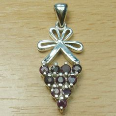 Genuine Ruby 925 Sterling Silver Cluster Grapes Fruit Pendant