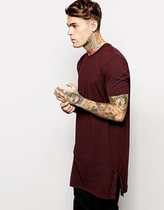 ASOS Super Longline T-Shirt With Side Zip Detail And Skater Fit