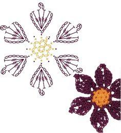 No.48 Purple Pasque Crochet Flower Motifs / 보라색 할미꽃 코바늘 플라워 모티브도안