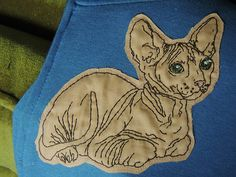 hairless cat embroidery by Jenny