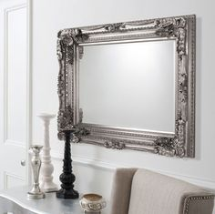 "Shabby Chic Wall Mirror bella silver shabby chic rectangle antique wall mirror 40"" x 28"" v"