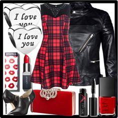 """Tartan Dress + Biker Jacket"" by jewelryrecipe on Polyvore"