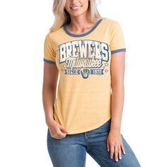 Milwaukee Brewers 5th & Ocean by New Era Women's Jersey Ringer Tri-Blend T-Shirt - Gold/Royal