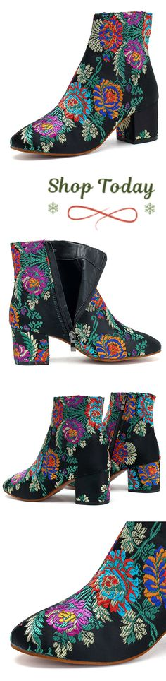 US$55.51 Square Heels Chinese Style Pumps Colourful For Women