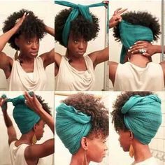Best Natural Afro Hairstyle with Scarf
