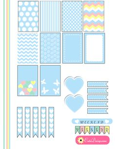 Free Printable Planner Stickers in Marshmallow Blue Color (Green and pink also available)