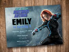 Avengers Black Widow Party Invitation Personalized Digital