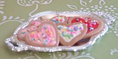 Six Valentines Cookies on Silver Tray for by MyGirlClothingCo