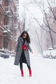 Winter style and layering without looking bulky (I have four layers on!) featuring a plaid coat and dashes of red. And talking about the world of blogging.