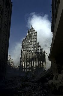 Remains of the World Trade Center,  photographed on September 14, 2001