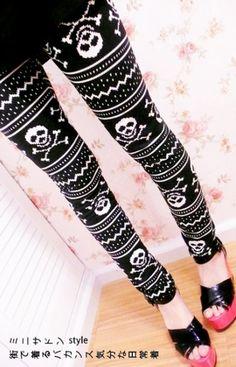 Ozuki's Wardrobe Skull Cross Bones Warm Leggings