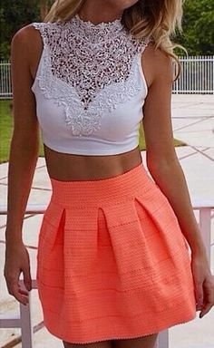 Cropped lace top + coral skirt