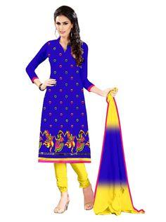 Party Wear Chanderi Blue Churidar Suit - EBSFSKRB334025