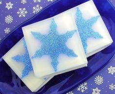 Snow Soap - Jack Frost Scented - Snowflake - Blue- Christmas - Holidays - Sparkle - Natural Glycerin - Christmas Soaps - Hostess on Etsy, $5.25