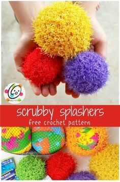Crochet Flowers Easy free crochet pattern to make scrubby splash balls. Quick and super easy for a unique gift all ages will LOVE! - free crochet pattern to make scrubby splash balls. Quick and super easy for a unique gift all ages will LOVE! Crochet For Beginners, Crochet For Kids, Easy Crochet, Free Crochet, Crochet Summer, Crochet Baby, Crochet Puff Flower, Crochet Flower Patterns, Crochet Flowers