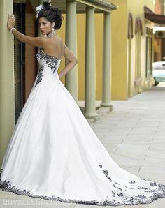Hochzeitskleid Farbe: schwarz, weiß