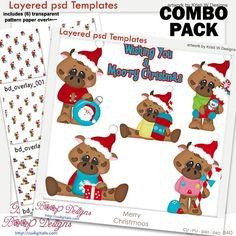 Merry Christmas Moo's Layered Template COMBO Set, cow, clipart, cu, commercial, scrap, scrapbooking, graphics, digital, cudigitals.com