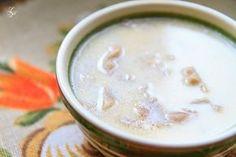 raw! soup: pleurotus mushrooms, cold pressed oil (not olive!), garlic, lemon juice. + cashew milk