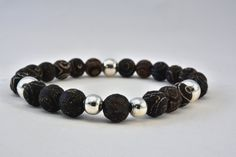 Bransoletka z agatu tybetańskiego dla mężczyzny w AnkArtJewelry na Etsy Bracelet Making, Silver Color, Natural Stones, Agate, Burns, Metal, Bracelets, Jewelry, Bangles