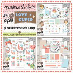 Love Stickers, Planner Stickers, Cupid Stickers, Printable Stickers, Planner Accessories, Erin Condren, Heart Stickers, Angel Stickers