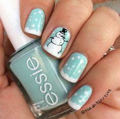 Cute Winter and Christmas Nail Ideas #snowman nail art - Crafty Morning